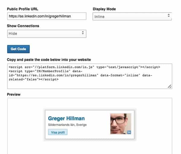 visa-linkedinprofil-på-hemsida